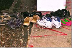 Shoes outside Saturday Morning Class